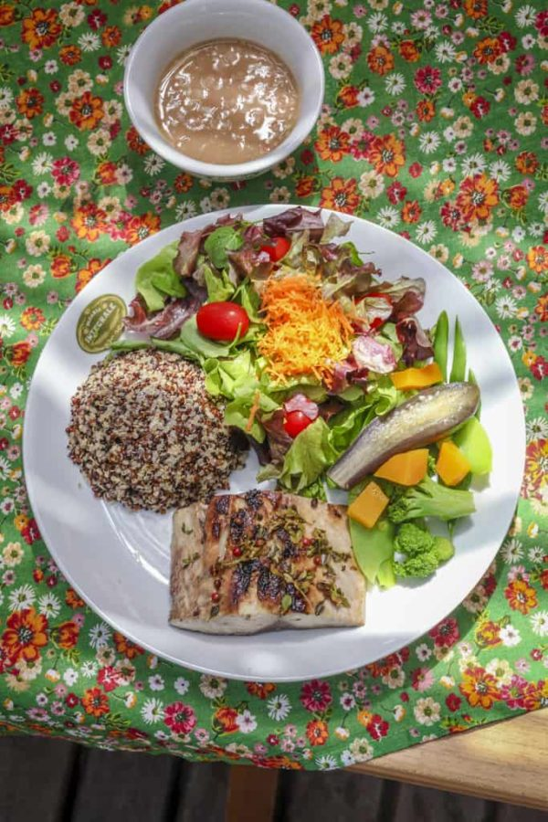Grilled local fish filet Accompanied with multicolor quinoa, pinto beans, steamed vegetables and house salad