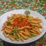 Whole grain Penne with homemade tomato sauce and basil