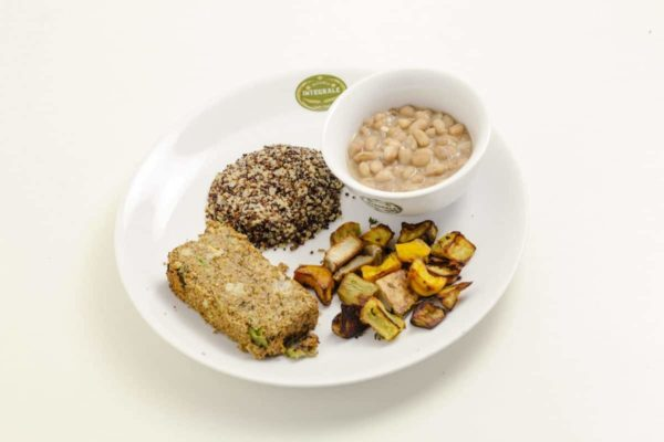 Vegetable and Hummus Kibbeh with multicolor quinoa grains, pinto beans and baked roots